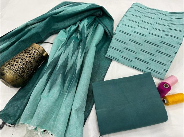 Teal Blue jaipuri ikkat suit set