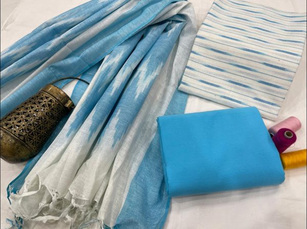 White and Azure pure ikkat suit set with dupatta