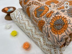 White and apricot floral print cotton running material set