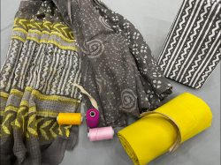 Yellow and gray kota doria dupatta with formal salwar suits for office wear