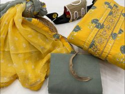 Yellow and slate gray embroidery salwar kameez in india