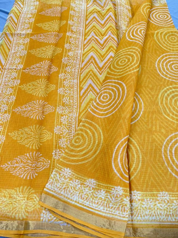 Yellow kota saree zari border