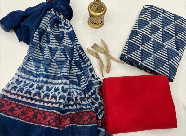 Azure and Crismon red pure cotton dress materials with chiffon dupatta