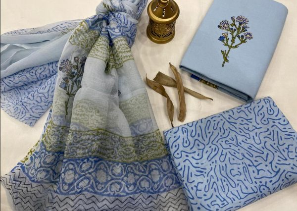 Baby blue cotton printed suit with chiffon dupatta