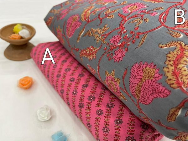 Exclusive pink and gray  pure cotton running fabric