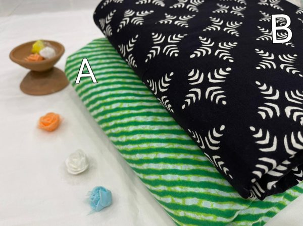 Black and green Pigment print Pure cotton running material set