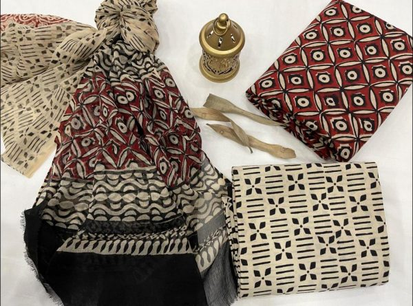 Maroon printed cotton suit with chiffon dupatta