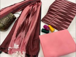 Maroon and Pink Ikkat suit set with dupatta