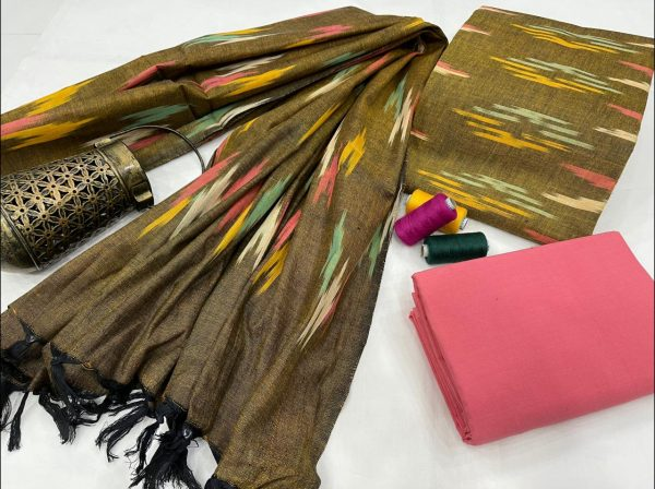 Olive and pink Ikkat dress material with dupatta