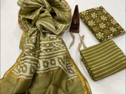 Olive Chanderi suit with chanderi silk dupatta