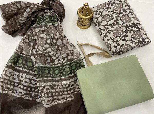 Dull green and taupe gray jaipuri cotton suits with chiffon dupatta