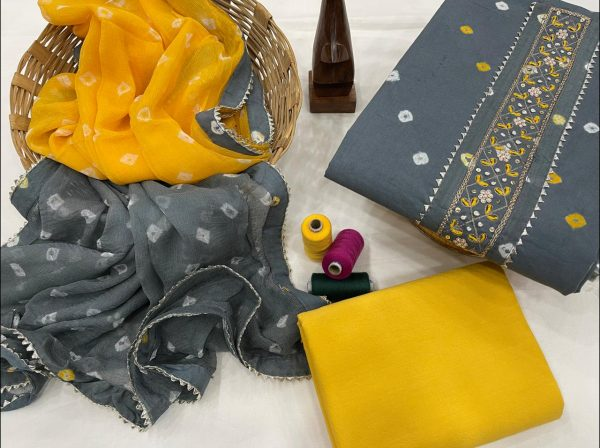 Slate gray and yellow embroidered suit with chiffon dupatta