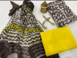 Taupe gray and yellow printed cotton suit with chiffon dupatta