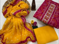 Red and amber printed cotton embroidery suit with chiffon dupatta