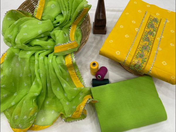 Amber and Green gota patti embroidery suits with chiffon dupatta