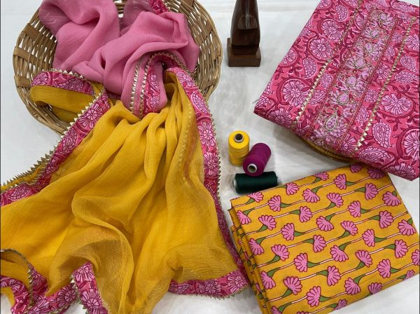 Amber and magenta hand embroidery suit design with chiffon dupatta