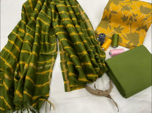 Green and yellow cotton salwar suit with dupatta set