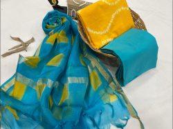 Azure and amber cotton salwar suit with kota silk dupatta
