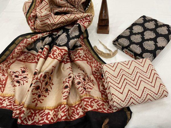 Black bagru print salwar Kammez ethnic wear ladies suit