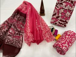 Maroon and pink cotton suit with kota dupatta
