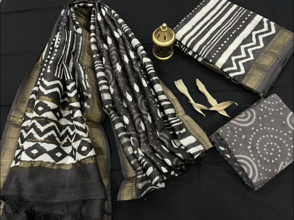 Taupe maheshwari silk suit set with cotton pajama