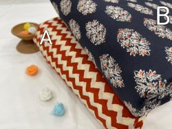 Blue and carmine bagru print pure cotton running material set