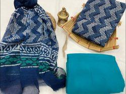 Blue cotton suit with chiffon dupatta online