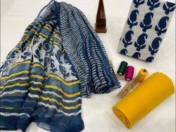 Blue and floral print cotton suit with kota doria dupatta