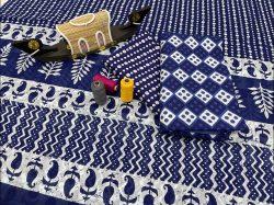 Blue cotton salwar suit with cotton dupatta