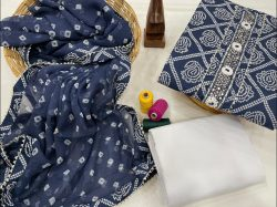Blue embroidery suit combination with chiffon dupatta