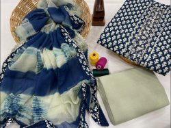 Blue printed cotton embroidery suit with chiffon dupatta