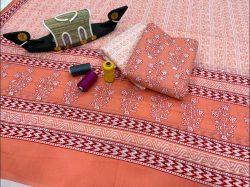 Coral pure cotton suits with cotton dupatta wholesale