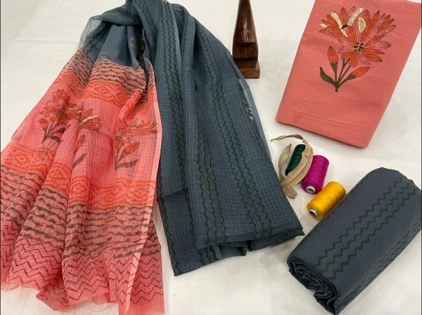 Coral and slate gray cotton suit with kota doria dupatta