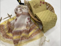 Copper Yellow and white cotton salwar suit set with kota silk dupatta