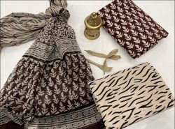Maroon and beige cotton suits with chiffon dupatta wholesale