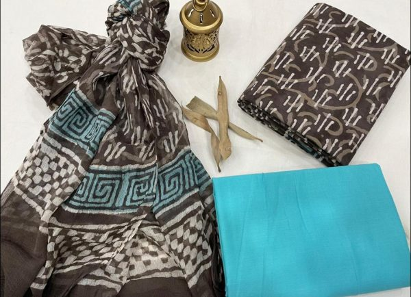 Taupe and azure cotton printed dress material with chiffon dupatta