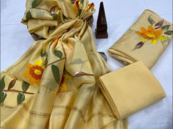 Pale Canary Yellow Hand painted salwar suit with chanderi dupatta