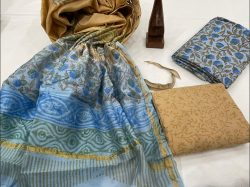baby blue and bronze Salwar suit with chanderi dupatta