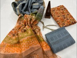 Peach and slate gray chanderi suit unstitched With chanderi dupatta