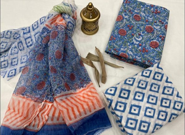 Baby blue and floral print cotton suits with chiffon dupatta online
