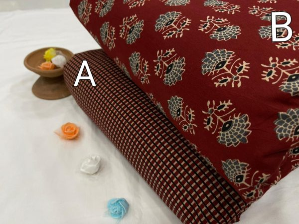 Maroon floral print Pure cotton running fabric set