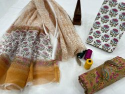 Brown and white floral print fashion office wear suit with kota doria dupatta
