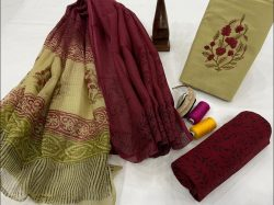 Maroon and dull green office wear salwar suits with kota dupatta