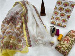 Yellow floral print cotton suit kota dupatta ladies suits for office wear