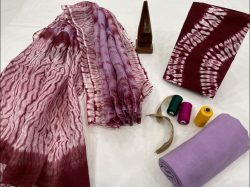 Maroon and Mauve cotton salwar suit with kota dupatta