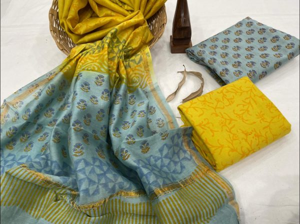 Cyan and yellow suit with chanderi dupatta