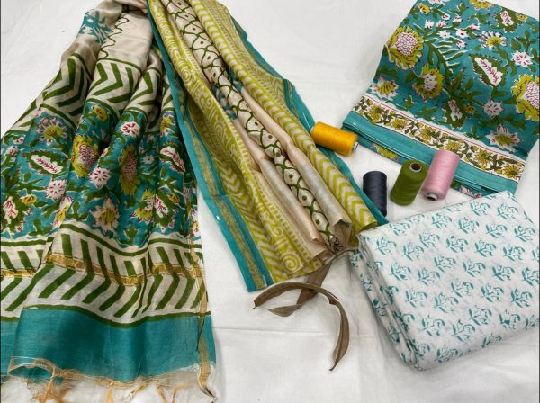 Tropical Green and white ethnic wear ladies suit with chanderi dupatta