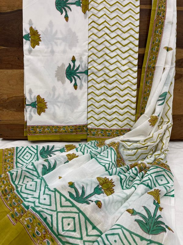 Cyan and white floral print cotton suit with bandhani dupatta