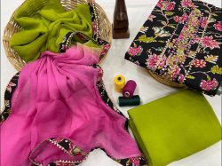 Black and green cotton unstitched embroidered suit with chiffon dupatta
