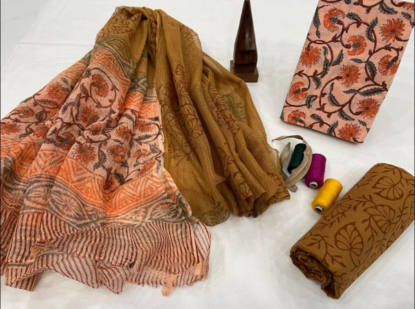 olive and pink Champagne cotton salwar suit with kota dupatta